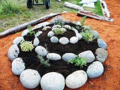 Huerto de plantas medicinales en espiral. 1