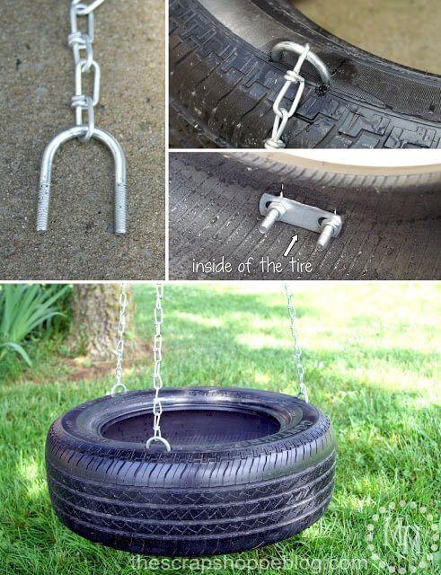 Columpio de neumático reciclaje