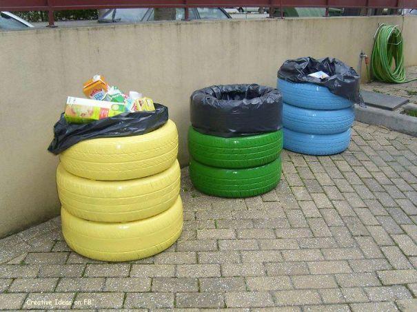 Contenedor basura neumatico reciclaje