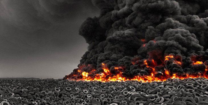 incineración de neumáticos contaminación